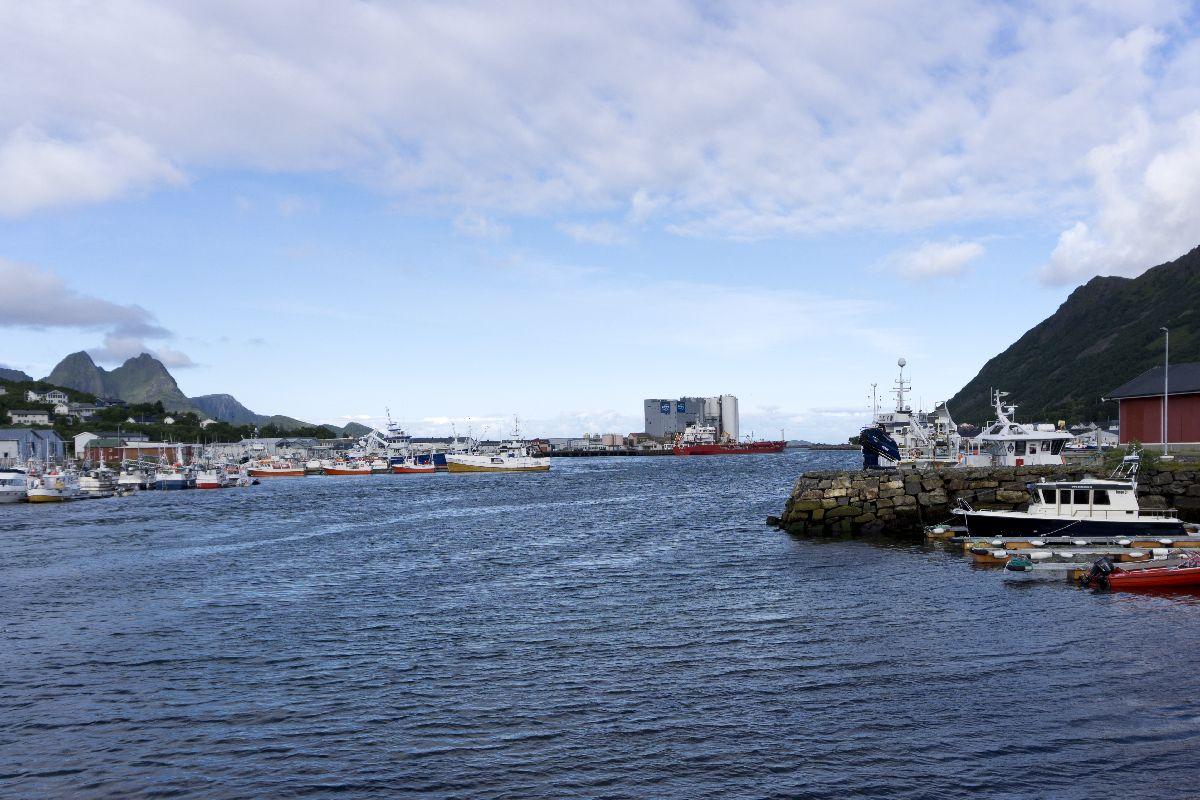 Blick auf den Hafen und die Fischfabrik