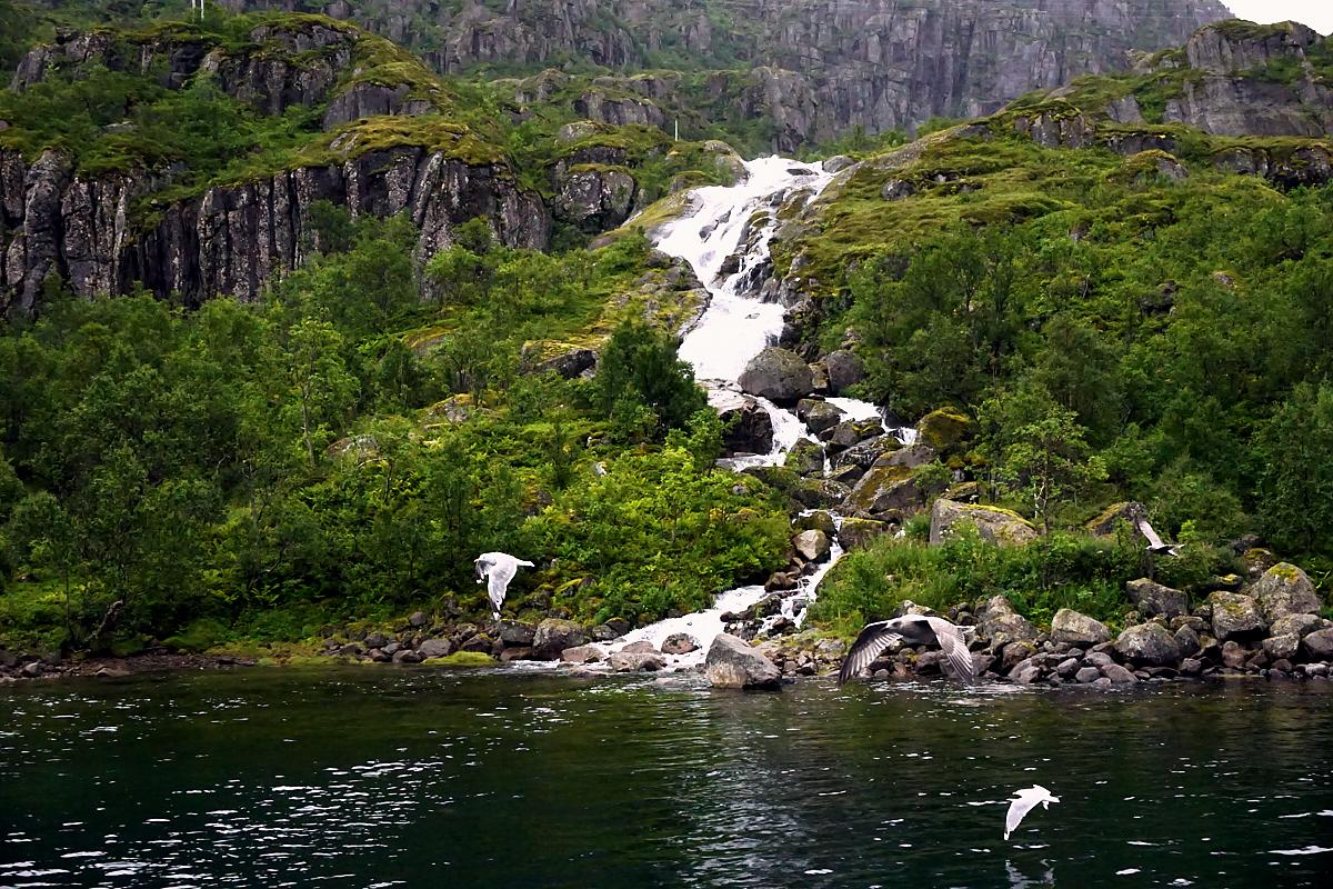 Sogar einen Wasserfall gab es. Typisch Norwegen.