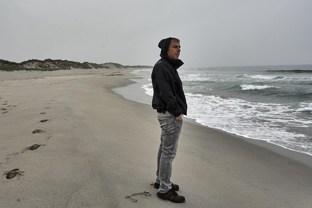 Andreas am Orrestranda, regnerisch und windumtost.
