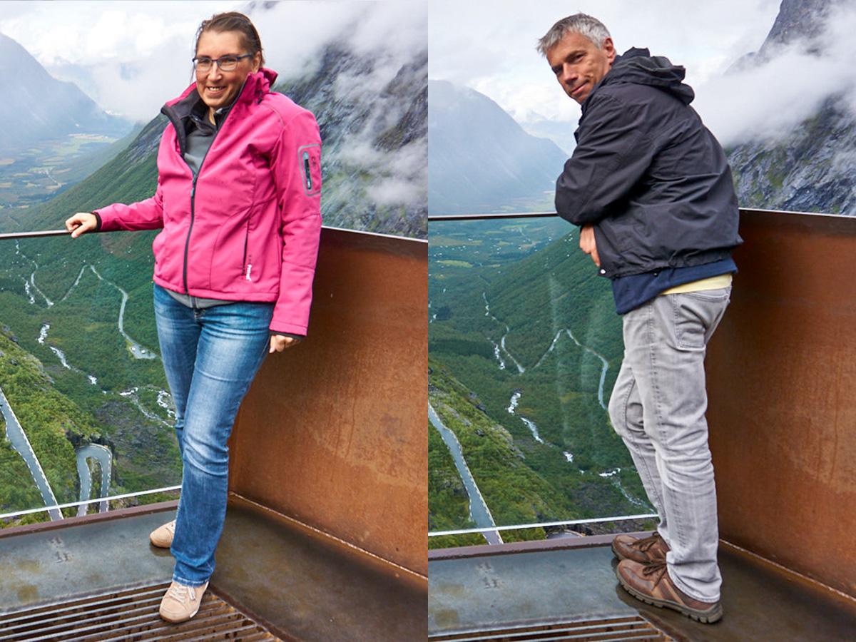Auf der Aussichtsplattform – 200 m frei schwebend über den Trollstigen.