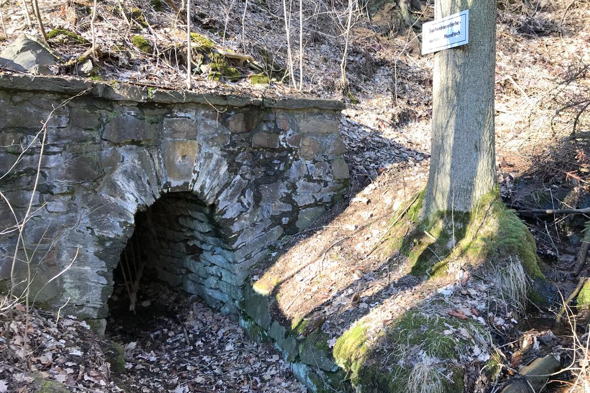 Buchenbornrösche - unteres Mundloch. Daneben ist die Quarzit-Höhle.